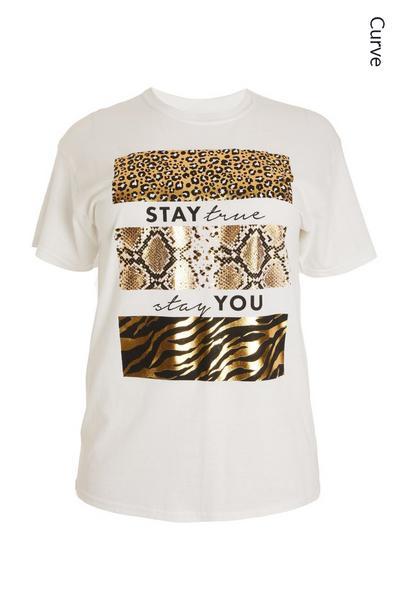 Curve White Slogan T Shirt